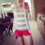 J. Crew cardi, Old Navy tank and shorts